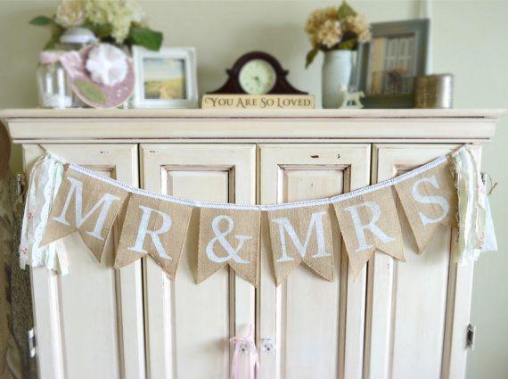 Mr & Mrs Burlap Jute Wedding Banner Garland by ShabbyDaisyDesigns