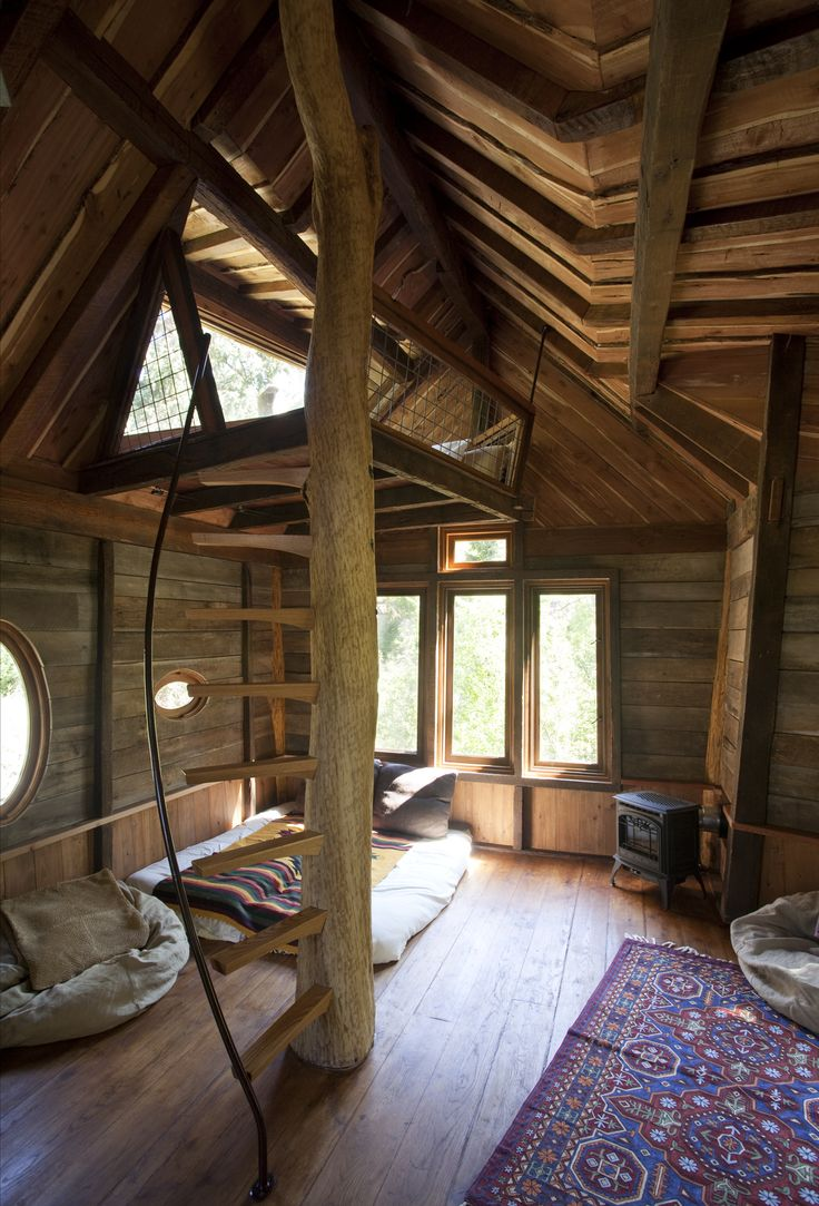 Interior of Crystal River Tree House by David Rasmussen. When people paint real wood it makes my soul cry whereas this makes my soul happy.