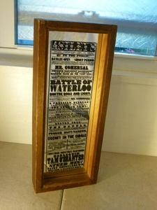 Vintage 1970 39 s newspaper script print on mirror rustic for Mirror will template