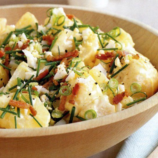 Quick and Easy BBQ Recipes: Deluxe Potato Salad with bacon, Dijon mustard, chives, black pepper, and more