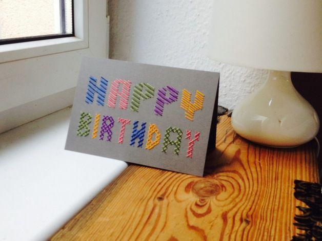 Make your custom Birthday card!  Hand Embroidery custom Birthday cards #dawanda #bonitofracaso #embroidery #birthday card
