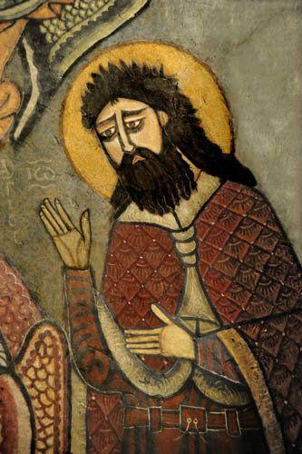 Egypt, St Antony's Monastery, founded in fourth century, thirteenth century Coptic wall painting in St Antony's Church, Deisis Chapel, detail of John the Baptist