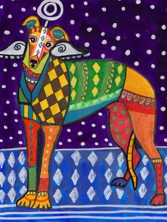 Greyhound art dog Art Print Poster by Heather Galler Colorful Greyhound Angel…