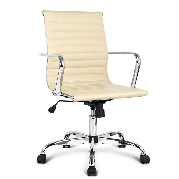 Eames Replica Beige PU Leather Executive Computer Office Desk Chair