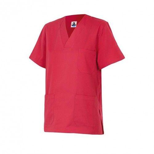 uniforme de limpieza camisola de pijama multibolsillos color rojo de Uniformes Web