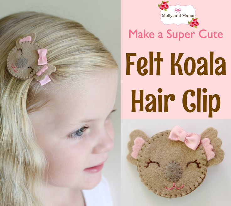 Create this pretty felt koala hair clip using this free tutorial from Molly and Mama. Use the free template to blanket stitch the koala for the hair clip.