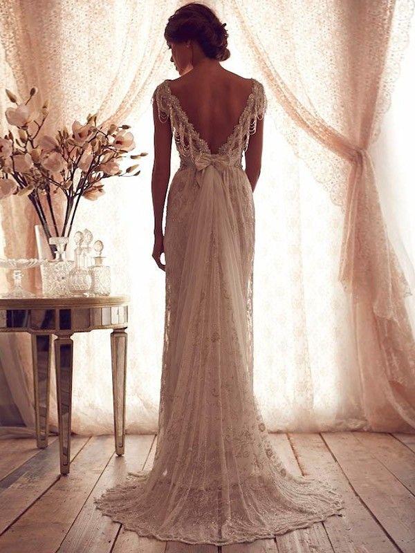 A-line/Princess Rems Ärmlös Bärlbroderi Sweep Släp Spets Bröllopsklänningar