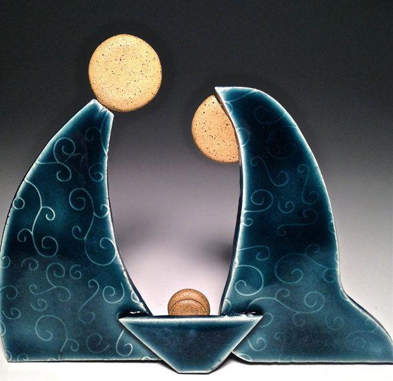Presepe ceramica Set asilo nido mangiatoia di Potterybydaina