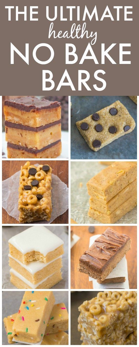 The Ultimate Healthy NO BAKE Bars- Delicious, quick, easy and portable- Made with NO butter, oil, white flour or white sugar and packed with protein! {vegan, gluten free, paleo recipe options}- thebigmansworld.com