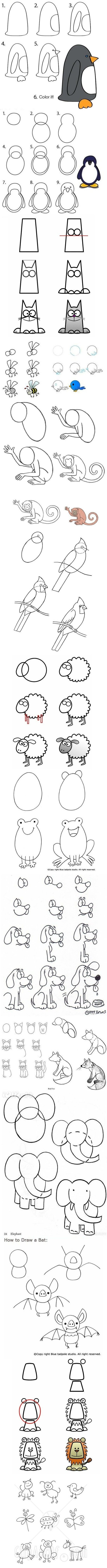 How to draw animals. Could easily use these to make animals with paper for scrapbooking accents :)