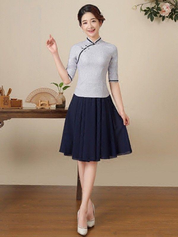 Fall Gray Qipao / Tang Top with Half Sleeves