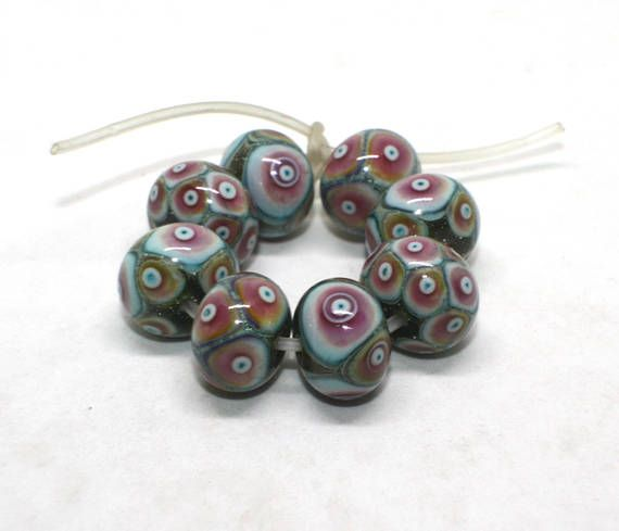 Set 8 Donut Beads 13 14 mm Copper Green Olive Turquoise