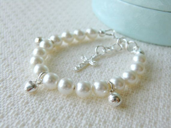 White Baby Charm Bracelet for Christening or Baptism, perfect babies first pearls, all findings are 925 sterling silver  by CharlotteJewelryBox, $42.00