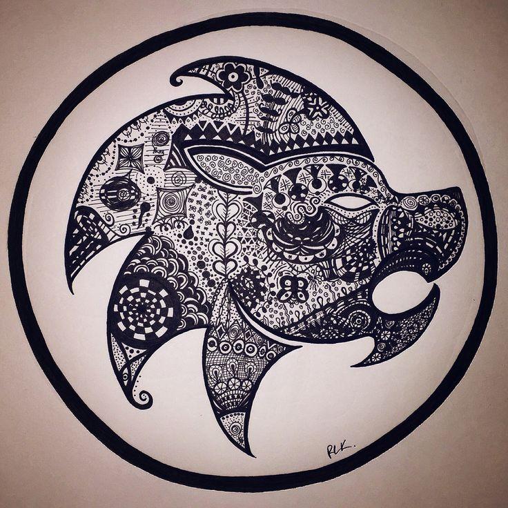 Zentangle Zodiac art - Leo,  (Made with black MICRON Pens different sizes). #PLKdesign