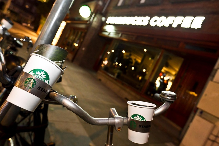 Amsterdam is more beautiful from a bicycle than a car, that's why Starbucks is introducing the world's first cup holder for your bike!
