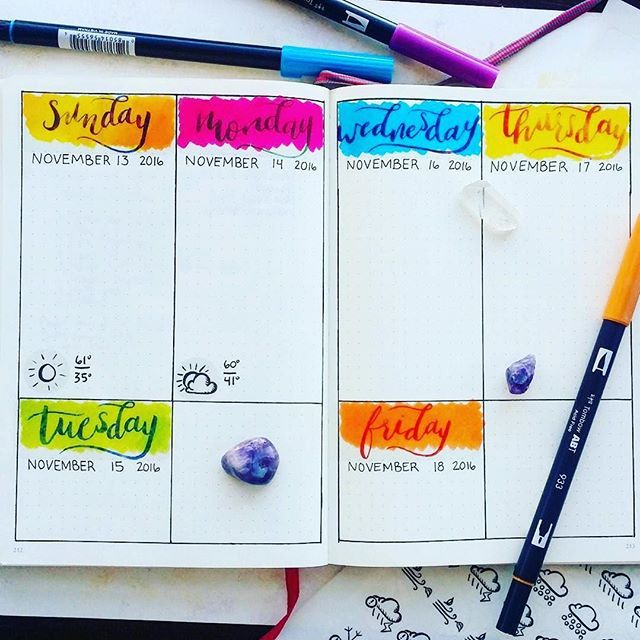 Ooooooo. Colorful! #Repost @little_coffee_fox ・・・ I got some new dailies all set up! I'm digging the bright pops of color under those stickers :rainbow:  If you want these transparent stickers to add to your bullet journal, head over to @coffeefoxcreation