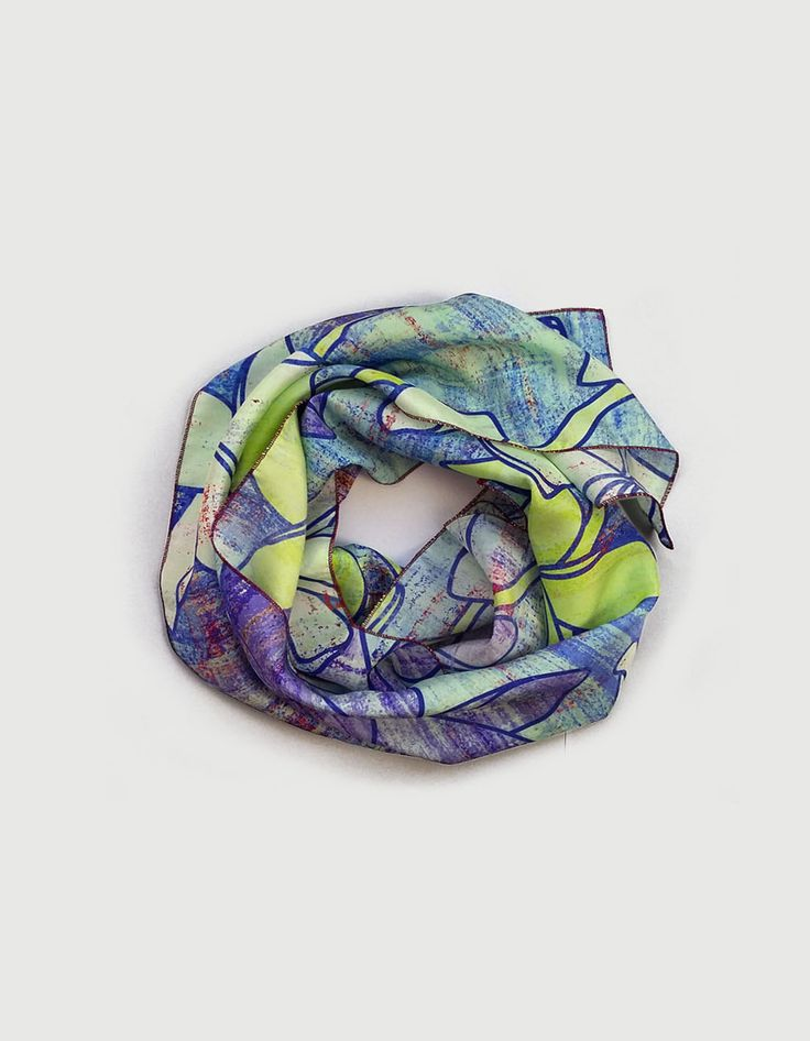 Blue silk scarf light, long plumeria floral printed scarf, high fashion trending now designer scarves, thoughtful gift, Mothers Day gift UK by ImaPico on Etsy