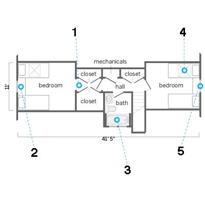 kids bedroom suite attic floor plan  For those pesky sloped ceilings ...put the closets in the hallway for more room & drawers under the beds