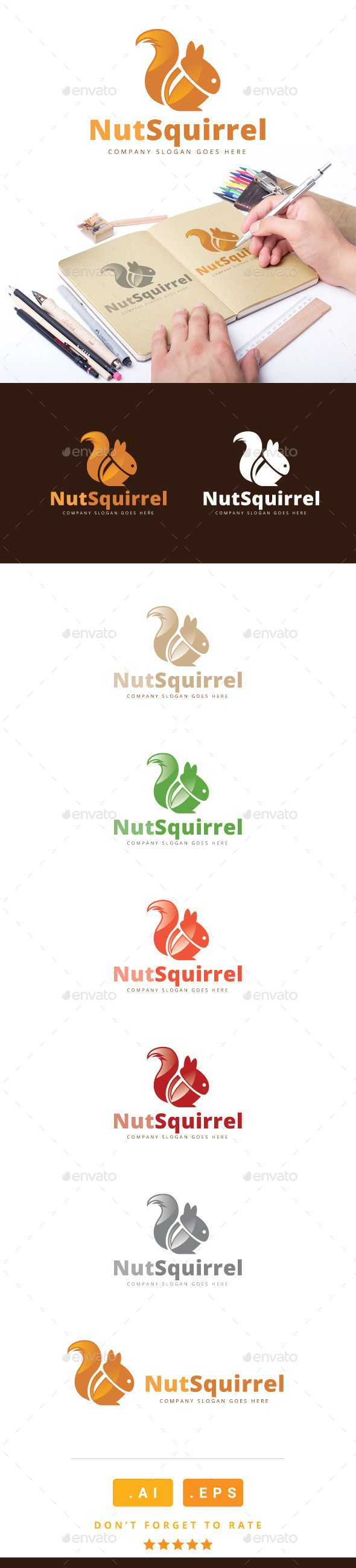 Nut Squirrel Logo — Vector EPS #food #colors squirrel • Available here → https://graphicriver.net/item/nut-squirrel-logo/11095784?ref=pxcr