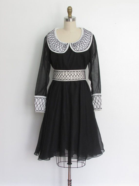 1970s black and white party dress dress // by VivianVintage8