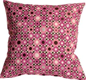 Houndstooth Spheres 18x18 Pink Throw Pillow