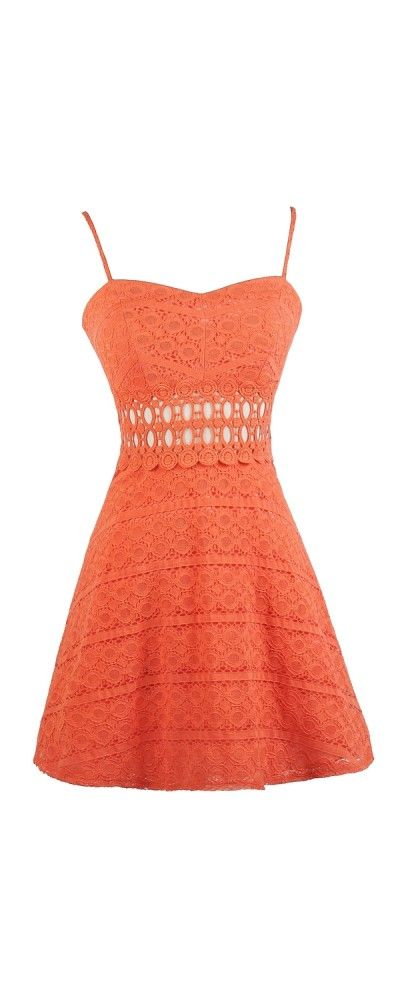 Lily Boutique Open Lace Flowy Dress in Orange, $35 Orange Lace A-Line Dress, Cute Lace Dress, Orange Lace Sundress, Orange Lace Summer Dress www.lilyboutique.com