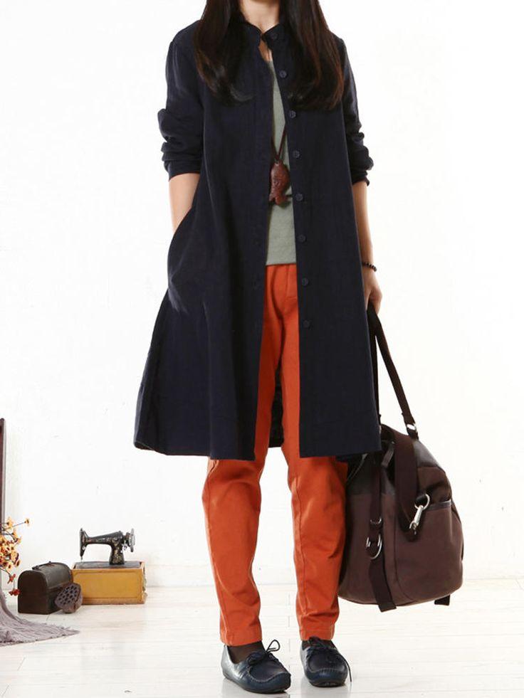 O-NEWE Solid Long Sleeve Button Pockets Dress Women Blouse at Banggood