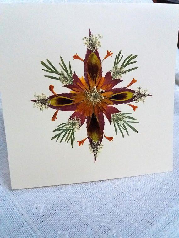 Christmas Star Greeting card. Pressed flower Christmas design