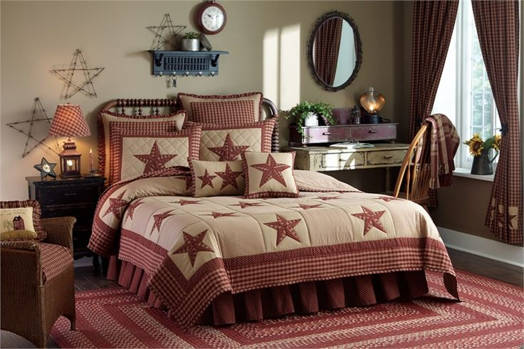 Country and Primitive Bedding, Quilts - Sturbridge Patch Wine Quilted Bedding by Park Designs - Country Decor, Primitive Decor, Bedding, Braided Rugs