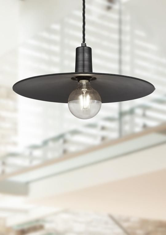 Vintage Sleek Edison Flat Pendant Light Pewter 15 inch