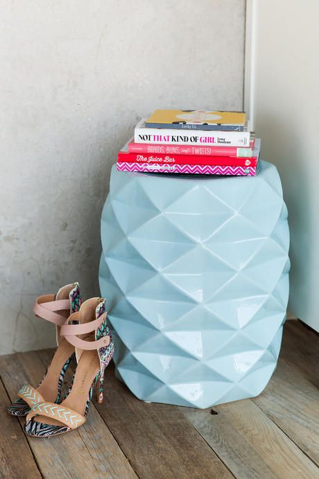 Add a feminine & modern touch to your space with the Light Blue Ceramic Side Table!