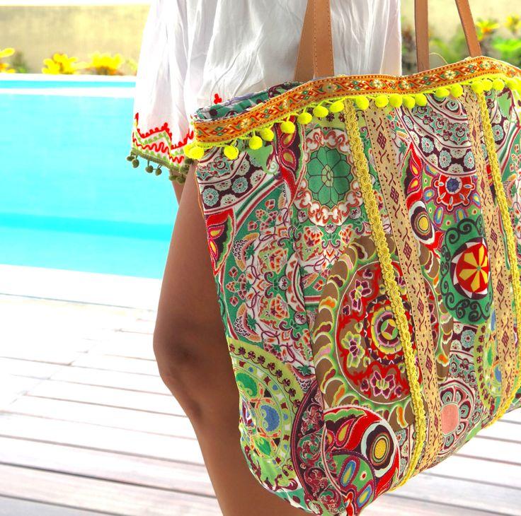 Pom Pom bolsos playa bolsos Yoga bag/tailandés bolsas viaje