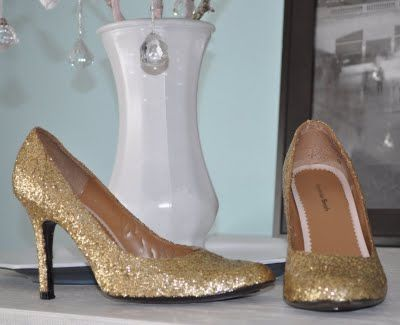 How to make glitter shoes! Budget: $$, Fashion, One Day Project, Style. Do you think it'd be worthwhile to put some kind of finish on the top to help the glitter stay put? Something like spray clear coat or a layer of clear-drying glue (Or would that mess up the flexibility of the shoe?) Just a thought.
