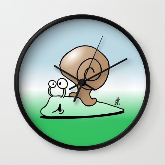 Snail wall clock. #Society6 #Cardvibes #Tekenaartje