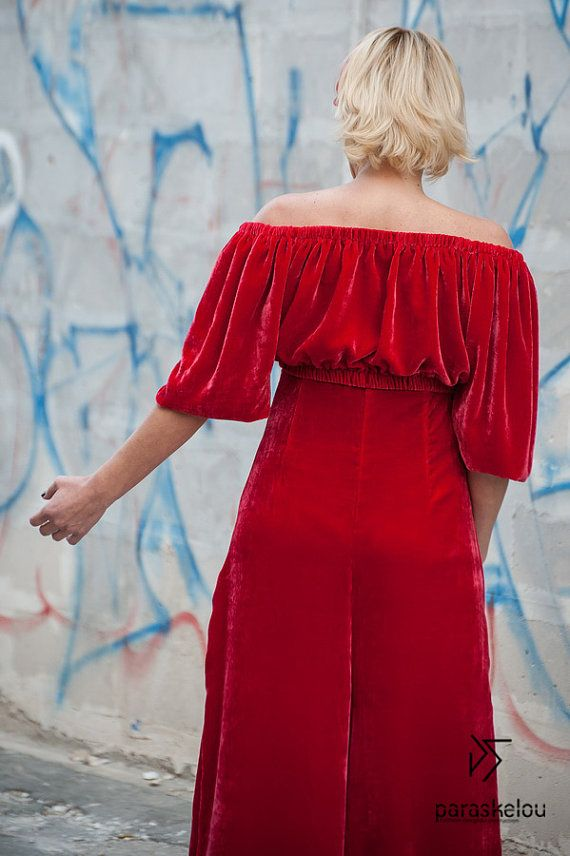 Red velvet womens romper off the shoulder by paraskeloufashion