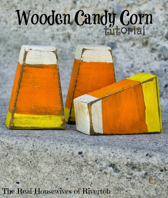 www.housewivesofriverton.com share how they made these wooden candy corn decorations!