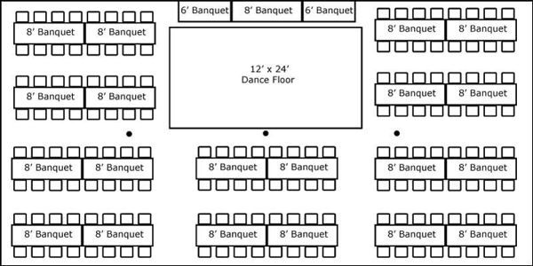 30x60 tent reception layout banquet tables | 30′ x 60′ w/ Banquet Tables, Buffet & Dance Floor - Super Stuff ...