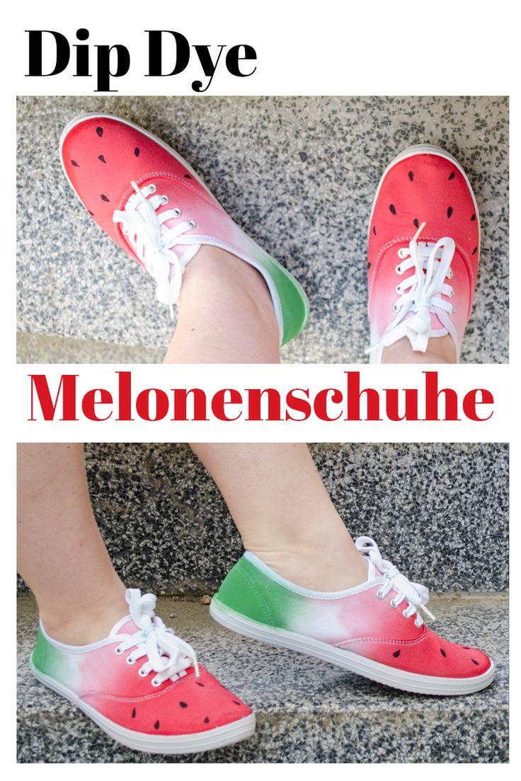 Easy und schnell Melonenschuhe selber herstellen! Einfach weiße Stoffschuhe umfärben und bemalen: mehr dazu auf www.ms-hey.de