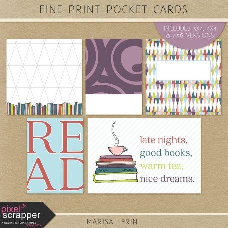 Fine Print Pocket Cards Kit | digital scrapbooking | reading, books, pocket cards, project life