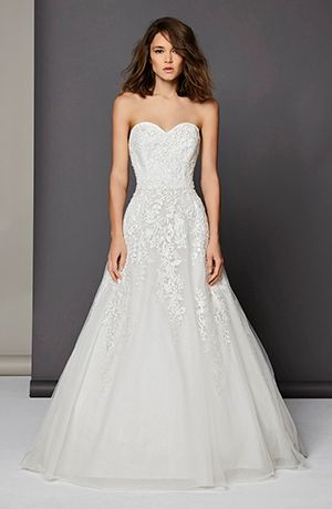 Michelle Roth Sweetheart A-Line Gown in Silk  This a-line gown features a sweetheart neckline with a natural waist in silk and beaded lace. It has a chapel train. This gown is available in Plus Sizes, and is Exclusive to Kleinfeld Bridal.