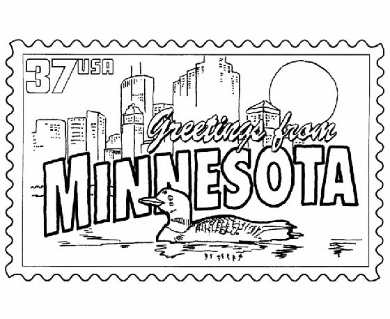 USA Printables Minnesota State Stamp