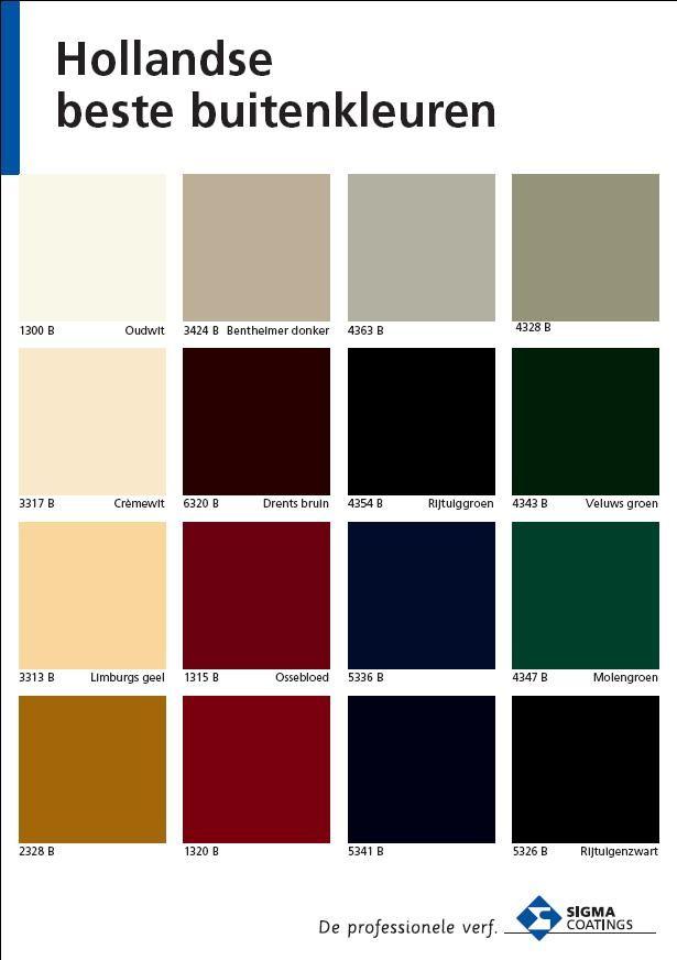 Hollandse beste buitenkleuren. Sigma kleurenkaart.