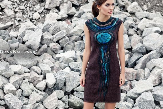 New Dress Nunofelt dress brown with turquoise от DianaNagorna