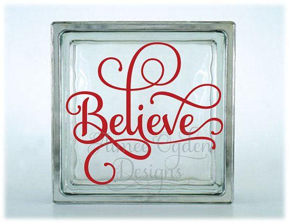 Christmas glass block vinyl decal sticker diy for for Glass block window frame