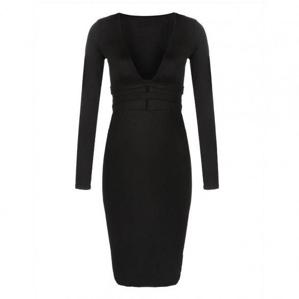 Women Fashion Sexy Deep V Neck Long Sleeve High Waist Hollow Bodycon Party Clubwear Pencil Dress