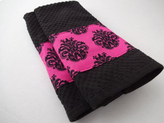 Lovely Black And Hot Pink Towel Set Kitchen Bathroom Towels By AugustAve, $18.00