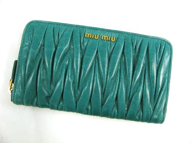 ミュウミュウラウンド長財布/TURCHESE(グリーン)/カーフ5M0506 -ミュウミュウ財布コピー
