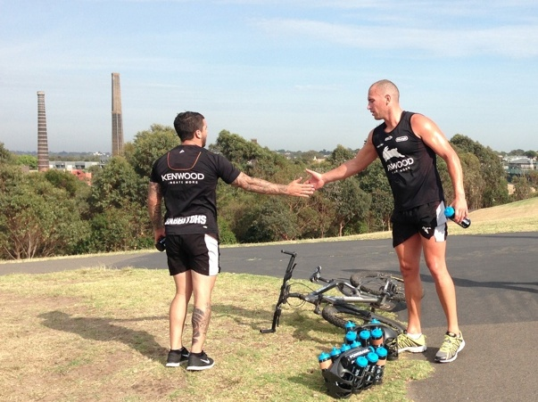 Ben Lowe and Adam Reynolds congratulate each other after a hard run