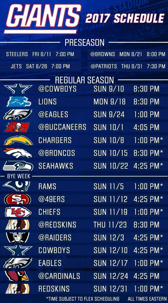 New York Giants 2017 Schedule Released