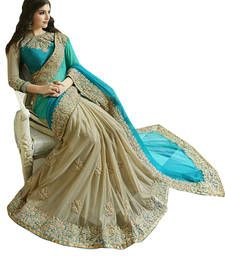 Buy light_blue embroidered georgette saree With Blouse georgette-saree online